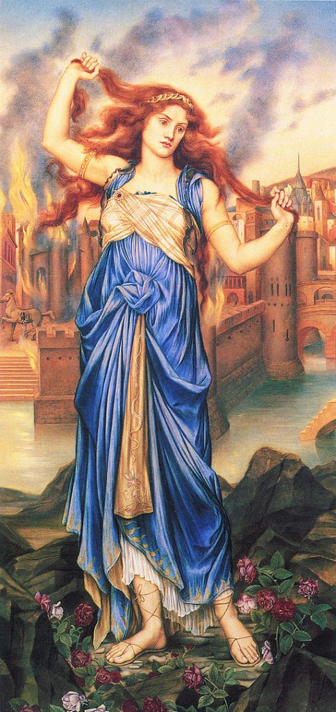 Painting of Cassandra doomed to predict the future and not be believed, by Evelyn de Morgan (1855-1919).