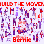 Democratic Socialists for Bernie: We Build the Movement Illustration: People of all ages, races, and genders with New Hampshire signs organize their neighbors while others build for the future.