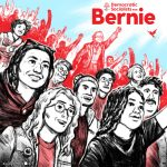 Text: Democratic Socialists for Bernie. Illustration: a crowd of all races, genders, and ages, looking up hopefully towards the future with fists raised.