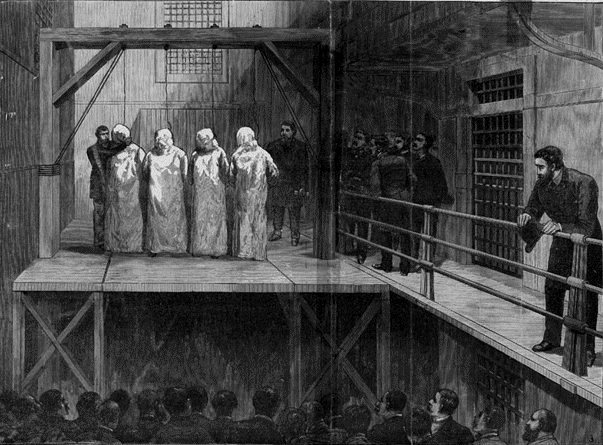 Four of the Chicago anarchists being hanged in Cook County Jail. |Source=[http://www.executedtoday.com/2008/11/11/1887-parsons-spies-fischer-engel-haymarket-martyrs/ executedtoday.com] |Date=1888 |Author=Unknown. |Permission=...