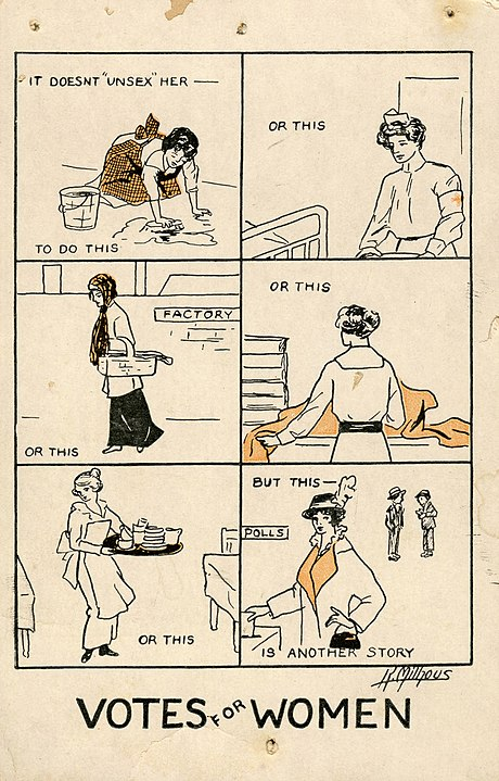 A women's suffrage propaganda postcard countering the rhetoric that voting will make a woman masculine by taking on masculine roles. Katherine Milhouse, 1915,