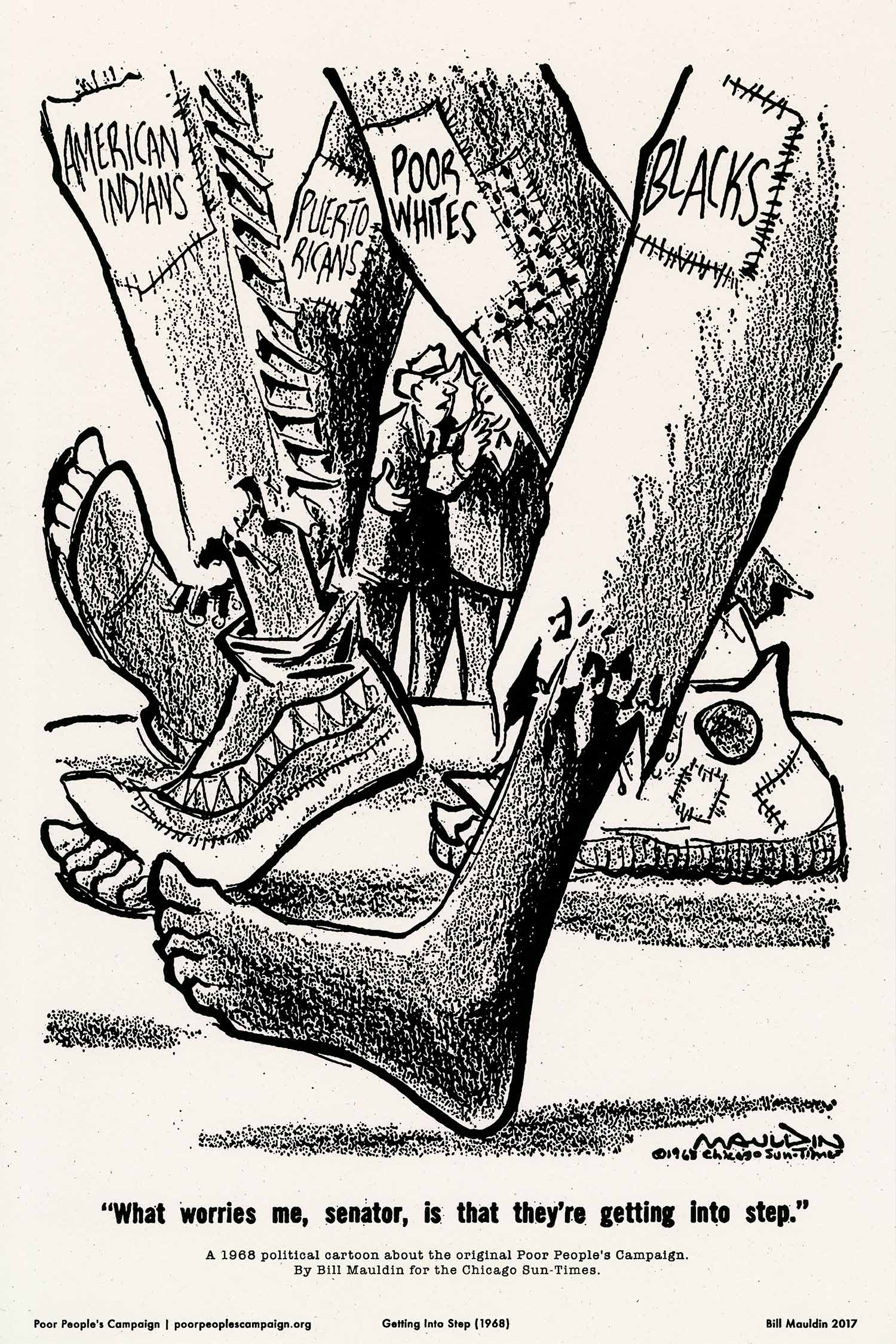 """Bill Mauldin's 1968 political cartoon """"Getting into Step"""" about the original Poor People's Campaign was reprinted for educational purposes with an awareness of the problematic tropes used in the print, See https://justseeds.org/graphic/getting-into-step-1968/."""