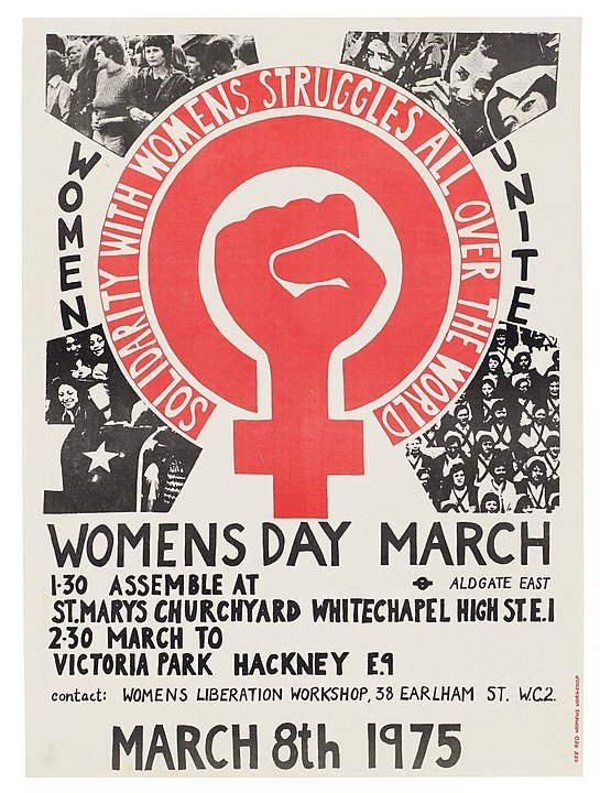 A poster for the very first International Women's Day, by Prudence Stevenson at Womens Liberation Workshop in London -(Wikimedia Commons)