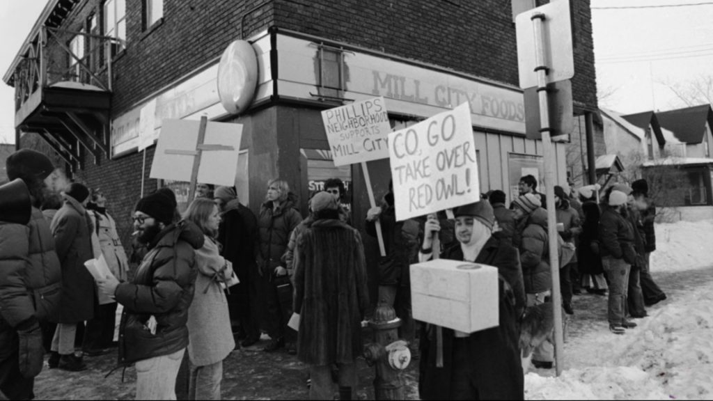 Mill City Co-op members rally to defend their co-op from takeover by the CO, January, 1976. Photo courtesy of the Minnesota Historical Society.