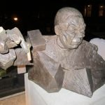 Sculpture by Goshka Macuga, of Powell making his UN Assembly speech about Iraq, in which he knowingly lied about Iraq having weapons of mass destruction.